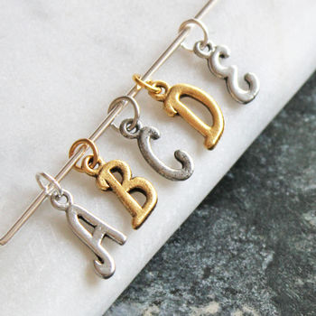 silver and gold add on letter charms