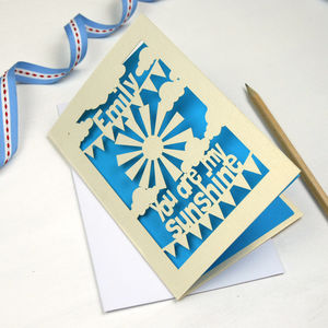 Personalised Sunshine Laser Cut Card