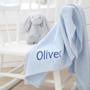 Personalised Blue Cellular Blanket - baby's room