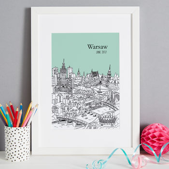 Warsaw print in colour 11-mint, font style 3