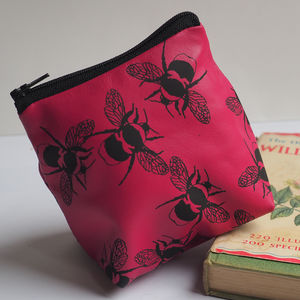 Bee Leather Pouch Purse