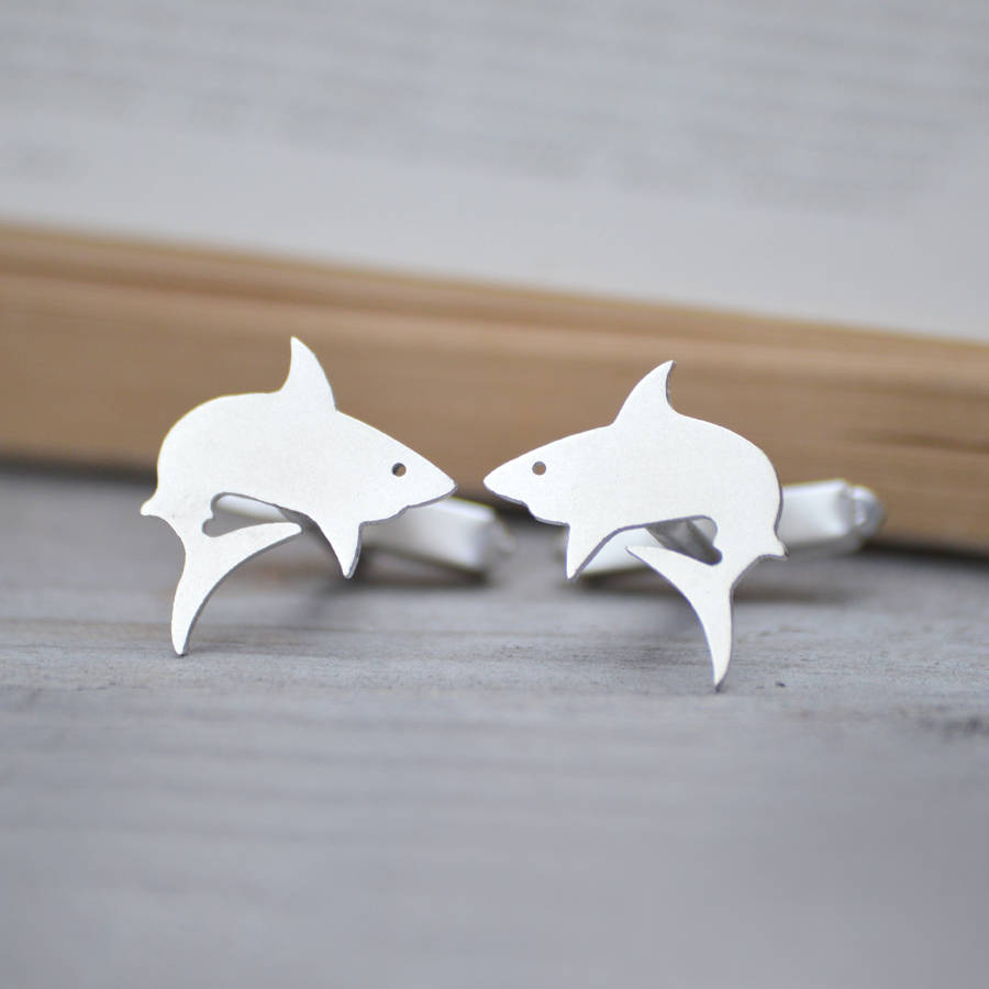 Shark Cuff Links In Sterling Silver, Handmade In The UK
