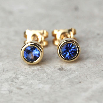 Solid Gold Tanzanite Studs December Birthstone