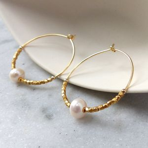 30mm Fair Trade Hoops With Freshwater Pearls - earrings