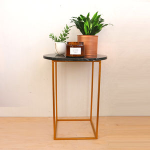Black Marble And Brass Side Table - side tables