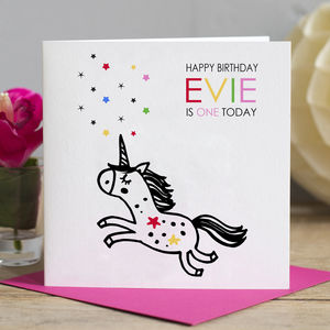 1st Birthday Card Unicorn