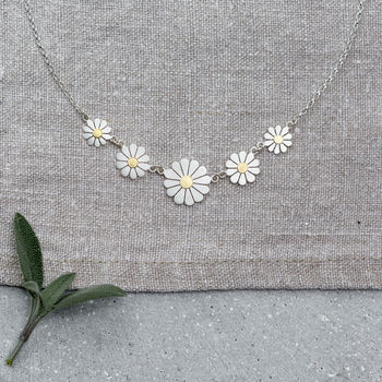 Five Daisies Necklace In Solid Silver And 18ct Gold