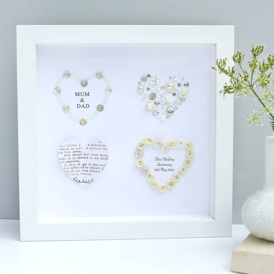 Personalised Silver Anniversary Framed Gift By Sweet Dimple