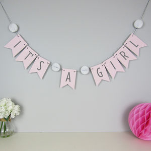 'It's A Girl' Bunting With Honeycomb Pom Poms - baby shower decorations
