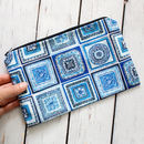Portugal Tiles Blue And White Cotton Cosmetics Bag