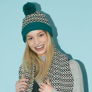 Teal Graphic Pompom Beanie By Miss Pompom - womens