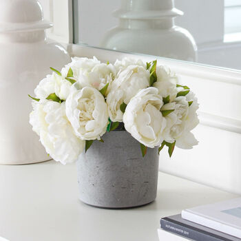 White Faux Peony Bunch