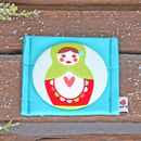 Large Russian Doll Fabric Handbag Mirror