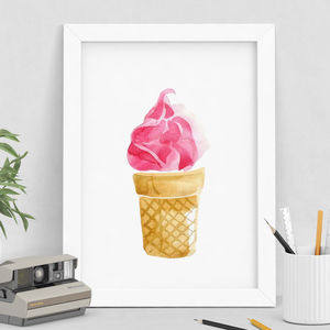 Pink Ice Cream Watercolour Print - sale by category