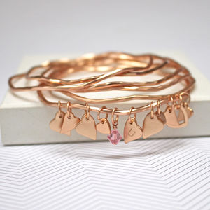 Rose Gold Heart Bangles With Swarovski Crystal - personalised jewellery