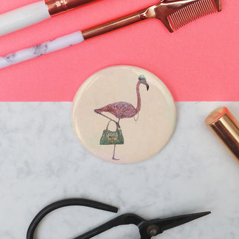 'Peggy The Flamingo' Pocket Mirror