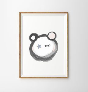 Panda Star Face Children's Nursery Print - pictures & prints for children