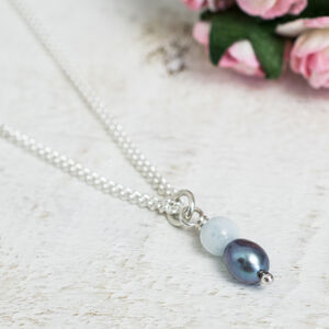 Handmade Aquamarine And Blue Pearl Necklace