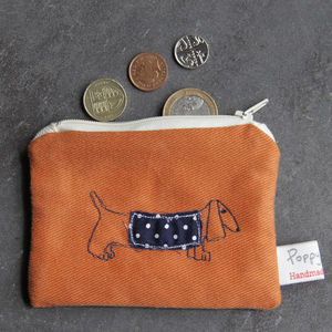 Dachshund Small Embroidered Purse
