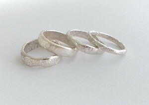 Handmade 3mm Wide Rocky Surface Ring