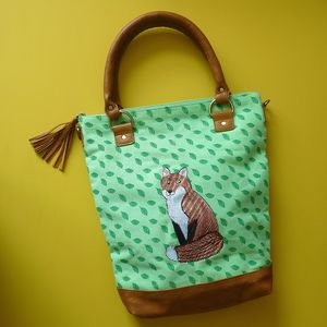 Mr Fox Green Canvas Tote - sale