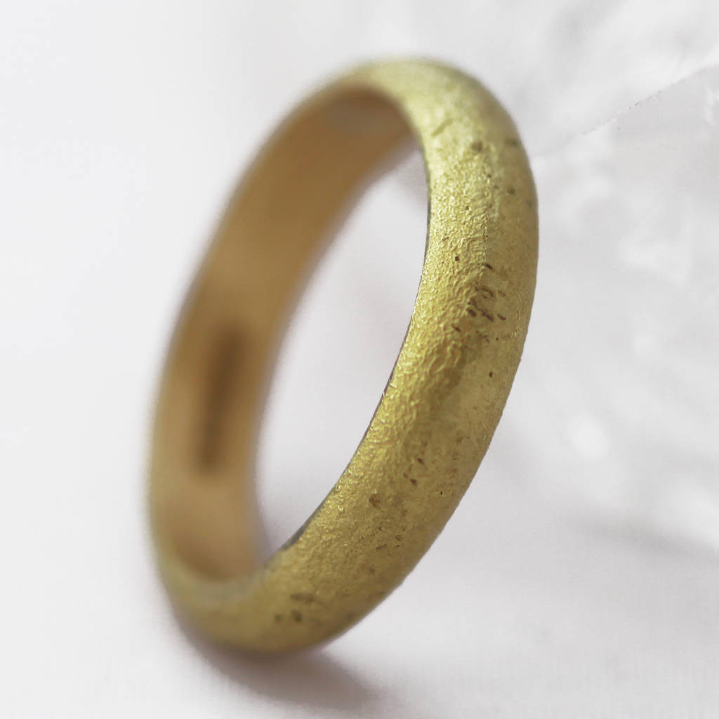 welsh and recycled gold organic finish 4mm wedding ring by