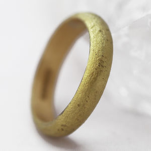 Welsh And Recycled Gold Organic Finish 4mm Wedding Ring - rings