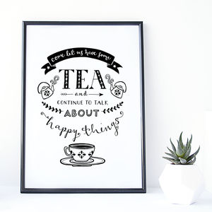 'Tea And Happy Things' Typography Print
