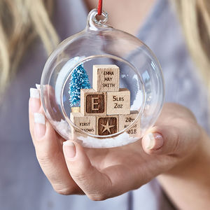 Personalised Baby Building Blocks Christmas Bauble - free delivery gifts to mainland UK
