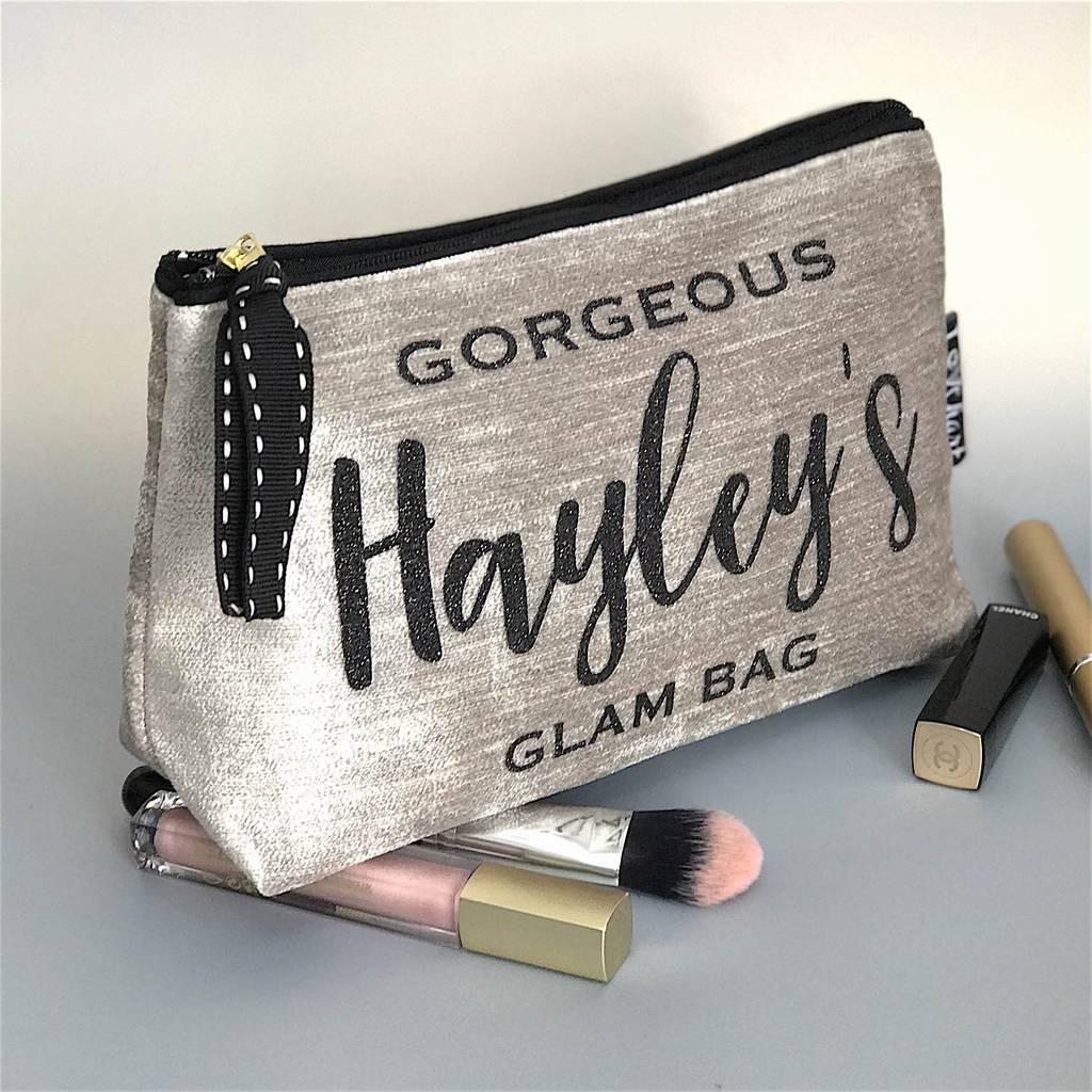 Velvet Makeup Bag With Black Trim