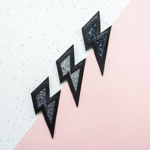 Lightning Bolt Leather And Glitter Brooch - fun pins