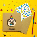 Handmade Pug Happy Birthday Personalised Card