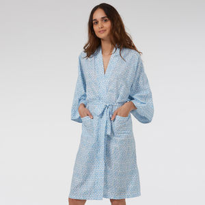 Cotton Wrap Kimono In Blue Hexagon Print