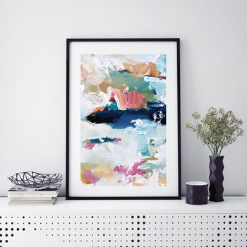A Modern Blue Fine Art Abstract Poster Print
