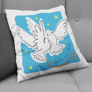 Personalised Matisse Doves Cut Out Cushion