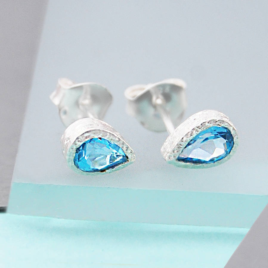 gold blue oval topaz stud earrings