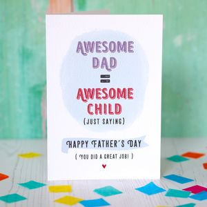 Awesome Dad Awesome Child Father's Day Card