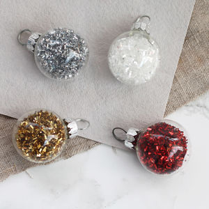 Box Of 12 Mini Baubles With Colourful Glitter - tree decorations