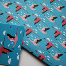 'Bird Wrapping Paper', Flamingo, Tropical, Swallows