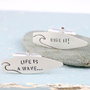 Personalised Silver Surf Quote Cufflinks