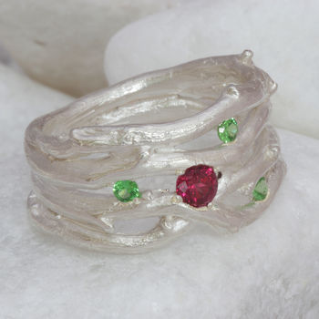 Pink And Green Garnet Multi Strand Silver Ring