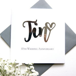 Tin 10th Wedding Anniversary Card - anniversary cards