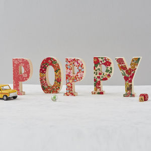 Liberty Print Fabric Wooden Childrens Letters - outdoor decorations