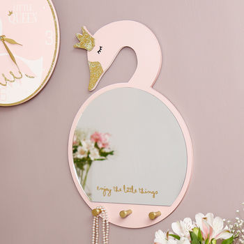 Swan Princess Wall Mirror With Hooks
