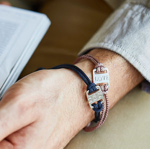 Men's Mini Id Plate Bracelet - 40th birthday gifts