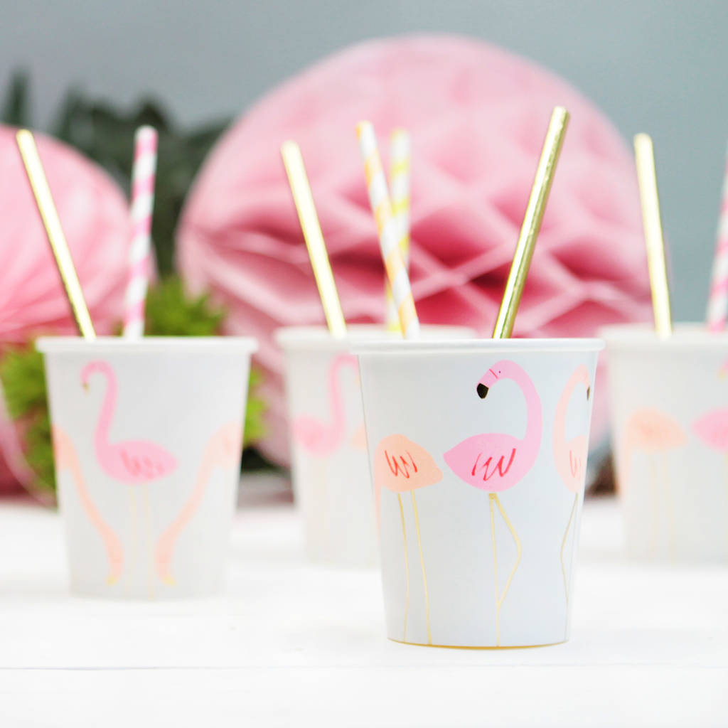 neon and gold flamingo pattern party cups by postbox party ...