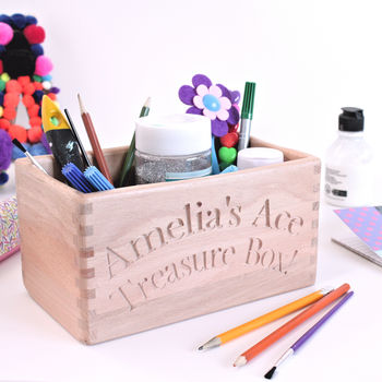 Personalised Wooden Tidy Box For Child
