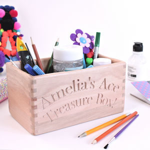 Personalised Wooden Tidy Box For Child - children's room