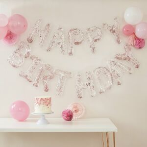 Clear Foil And Confetti Happy Birthday Balloons Banner