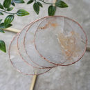 Clear Quartz Agate Coasters Gilded Edge Set Of Two
